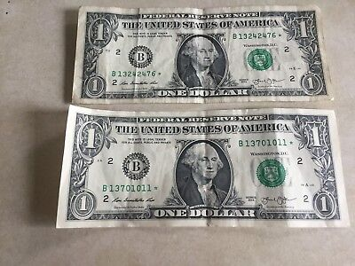 Federal Reserve Note   1$    2013   Star  ( Lot Of 2 )  Replacement Dollar Bill