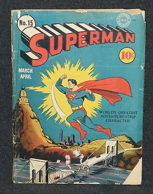 Superman Comic Book 1940's Issue #15 Golden Age Classic In Air Damaged Bridge