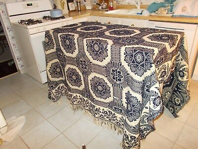 Dated 1854 Blue And White Jacquard Coverlet With Fringe On One End Seamed