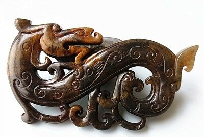 Chinese Natural Old Jade Carved Auspicious Beast Pendant
