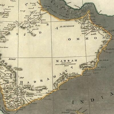 Saudi Arabia Oman Persian Gulf c.1836 scarce lovely old map hand color