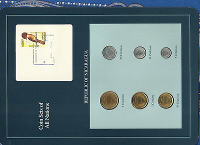 Coin Sets of All Nations Nicaragua UNC 1,5 Cordobas 5,10,25,50 Ctvs 1987