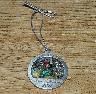 John Deere Collectible Pewter Christmas Ornament 2001 No 6 in the Series MINT