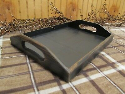 Primitive wood Large serving tray black distressed country farmhouse star decor