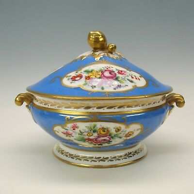 1900's French porcelain Sevres blue tureen with hand painted flowers