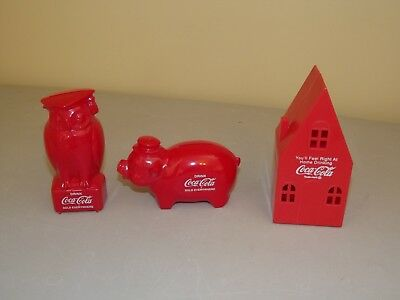 Coca Cola Plastic Pig & Owl Bank Drink Sold Everywhere & Home Bank You'll Feel