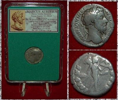 Ancient Roman Empire Coin MARCUS AURELIUS Mars On Reverse Silver Denarius