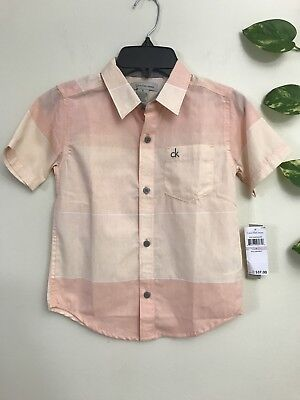 New With Tag Boys Calvin Klein Buttons Down Short Sleeves Shirt Size 6