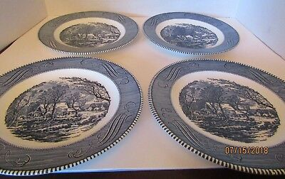 """Royal China Currier and Ives 4 Blue & White Dinner Plate 10"""" USA"""