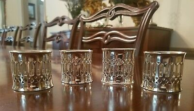 Vintage Silver-Plated Reticulated / Pierced Napkin Rings Set Of 4