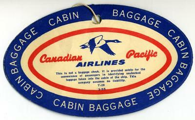 Cabin Baggage ~CANADIAN PACIFIC AIRLINES~ Great Old Luggage Tag, 1955