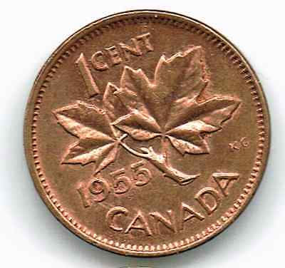 Canada Small Cent 1955 Georgevi...red