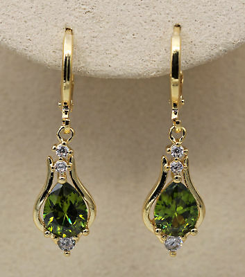 18K Yellow Gold Filled- 1.2'' Hollow Teardrop Peridot Topaz Gems Women Earrings