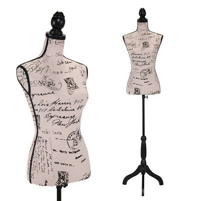 Female Mannequin Torso Black Tripod Stand Clothing Dress Form Display Printing
