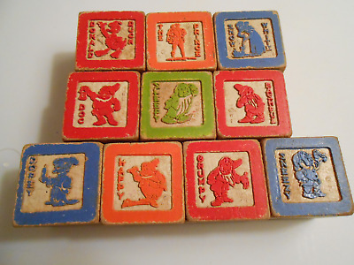 Antique Wooden Toy Alphabet Blocks With Snow White, Prince & 7 Dwarfs Set Of 10