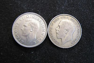 Lot of 2 Great Britain Silver Shilling Coins - 1922 & 1939