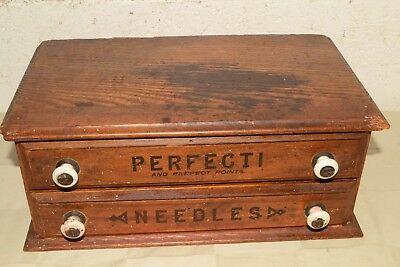 Antique PERFECTI Points NEEDLES Wood DISPLAY General Store 2-DRAWER CABINET Box