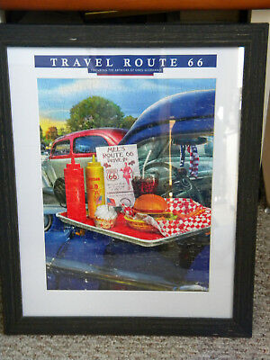 """Framed Route 66 """"Mel's Drive In"""" Diner  Assembled Puzzle 16 X 20  Wall Decor"""