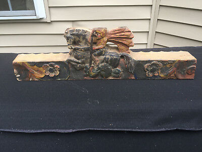 Antique Architectural Salvage Carved Wood Egyptian Warrior Hunting Scene