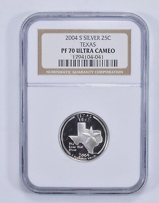 PERFECT PF70 UCAM 2004-S Texas State Quarter - 90% Silver - NGC Graded *752
