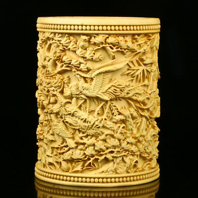 Chinese Boxwood Hand Carved Bird & Phoenix Brush Pot RB003