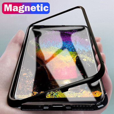 Magnetic Adsorption Metal Tempered Glass Case Cover For Samsung S9 S8 Plus Note8