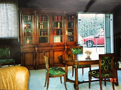 French Mahogany Dining Room Set Armoire Antique Expandable Table Green Chairs