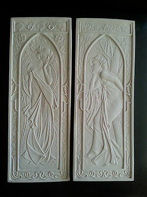 2 Art Deco Mucha Nouveau architectural plaster pediment wall decor plaques new