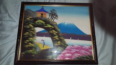 vintage Mount Fuji Japan and cherry blossom picture