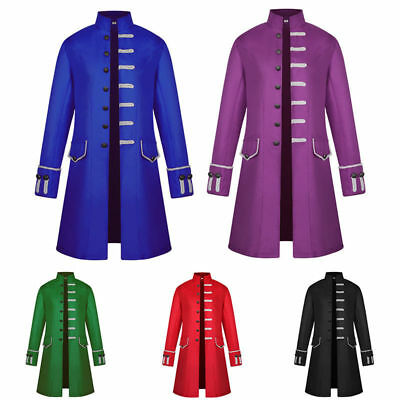 Men's Uniform Victorian Frock Coat Gothic Steampunk Jacket Long Vintage Tailcoat