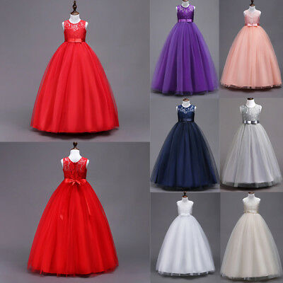 AU Flower Kids Girls Lace Tulle Wedding Bridesmaid Pageant Party Formal Dresses