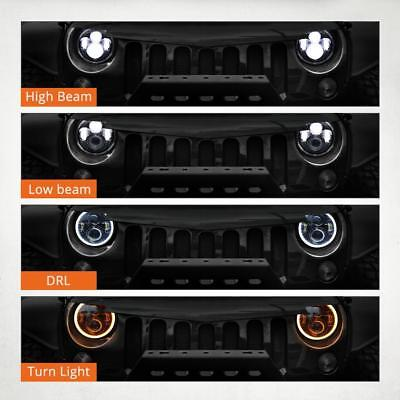 7inch LED Halo Angle Eyes Round 4x4 DRL Headlight Offroad Driving Light For Jeep