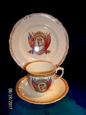1937 GRINDLEY CREAMPETAL CORONATION KING EDWARD VIII Teacup , Saucer ,Plate Trio