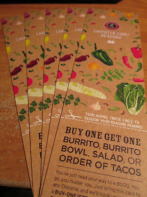 5x CHIPOTLE Mexican Grill BOGO Buy One Get One Voucher Card Burrito/Taco Deal
