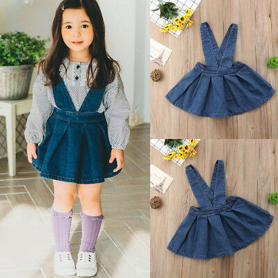 111c8a684d1c USA STOCK Kids Baby Girls Denim Suspender Strap Dress Skirt Overalls Clothes