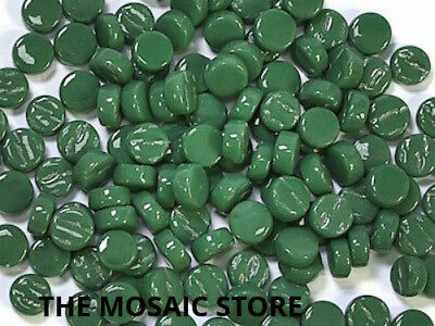 Dark Green Glass Dots (Circles, Round) - Mosaic Tiles Supplies Art Craft