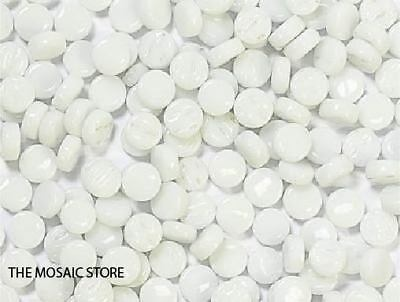 White Glass Dots (Circles, Round Tiles) - Mosaic Tiles Supplies Art Craft