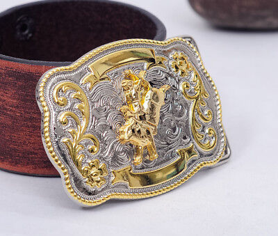 Rock Bull Ride Rodeo Long Rodeo Cowgirl Cowboy Texas Western Shine Belt Buckle