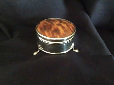 Antique Gorgeous Silver Plated And Faux Tortoise Shell Lid On 3 Feet