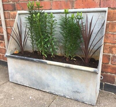 🌸 Vintage Antique Galvanised Trough Garden Planter Architectural Industrial 🌸