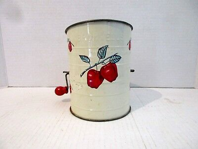 Vintage 50's Bromwell's 3 Cup Metal Flour Sifter APPLES