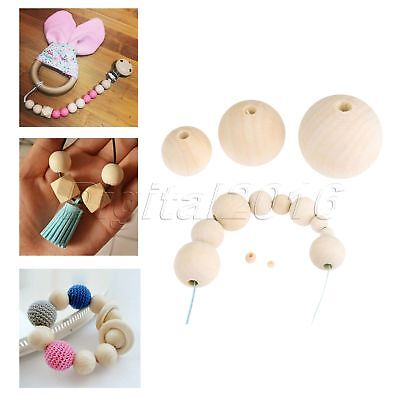 1 Set Natural Wooden Beads Polish Round for Holiday Fun DIY Crafting 4mm-50mm