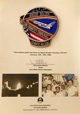 Space Shuttle Columbia STS-61C Flown Mission Patch on Presentation