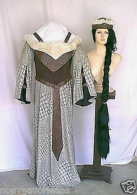 Theatrical Quality Elf Warrior Princess Costume in Browns Faux Leather Suede Fur