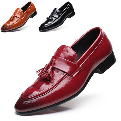 Men's Tassel Shoes Flat Loafers Slip On Casual Pointed Toe Crocodile print Shoes