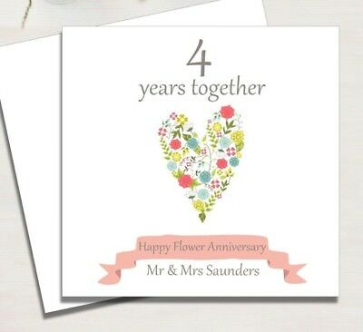 personalised flower 4th wedding anniversary card 3 25 picclick uk