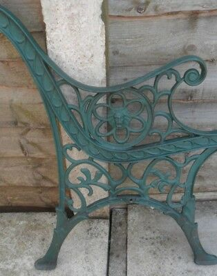 Pair of Used Green Cast Iron Bench Ends with Lion head for Making Garden Bench