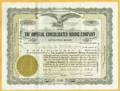 1920 Imperial Consolidated Mining Company Stock Certificate