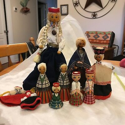 Vintage Wooden Hand painted Cloth Russian Dolls Lot of 10