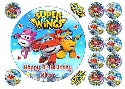 """Edible Super Wings Personalised Icing Cake Toppers Various Options 7"""" A4 Cupcake"""